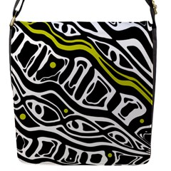 Yellow, black and white abstract art Flap Messenger Bag (S)