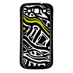 Yellow, black and white abstract art Samsung Galaxy S3 Back Case (Black)