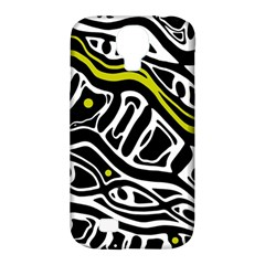 Yellow, black and white abstract art Samsung Galaxy S4 Classic Hardshell Case (PC+Silicone)