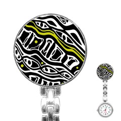 Yellow, black and white abstract art Stainless Steel Nurses Watch