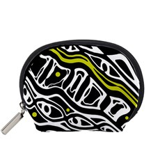 Yellow, black and white abstract art Accessory Pouches (Small)