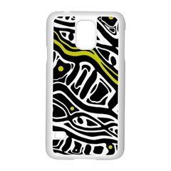 Yellow, black and white abstract art Samsung Galaxy S5 Case (White)