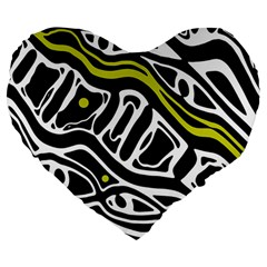 Yellow, black and white abstract art Large 19  Premium Flano Heart Shape Cushions