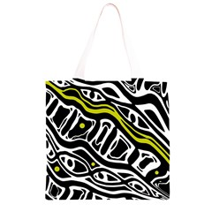 Yellow, black and white abstract art Grocery Light Tote Bag