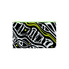 Yellow, black and white abstract art Cosmetic Bag (XS)