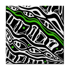 Green, black and white abstract art Tile Coasters