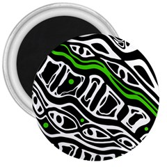 Green, black and white abstract art 3  Magnets