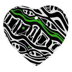 Green, black and white abstract art Ornament (Heart)