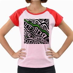 Green, black and white abstract art Women s Cap Sleeve T-Shirt