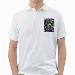 Green, black and white abstract art Golf Shirts