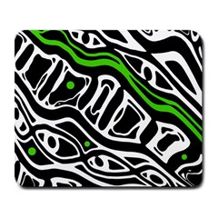 Green, black and white abstract art Large Mousepads