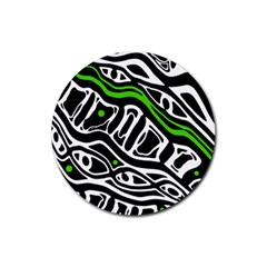 Green, black and white abstract art Rubber Coaster (Round)
