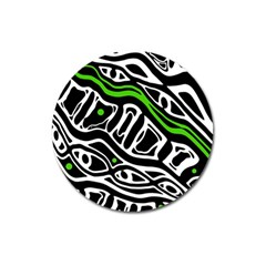 Green, black and white abstract art Magnet 3  (Round)