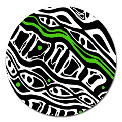 Green, black and white abstract art Magnet 5  (Round)