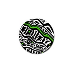 Green, black and white abstract art Golf Ball Marker