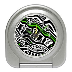 Green, black and white abstract art Travel Alarm Clocks