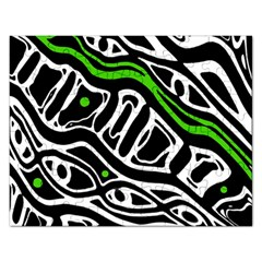 Green, black and white abstract art Rectangular Jigsaw Puzzl