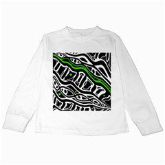 Green, black and white abstract art Kids Long Sleeve T-Shirts