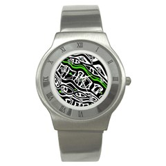 Green, black and white abstract art Stainless Steel Watch
