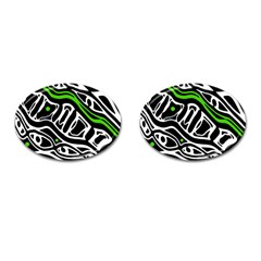 Green, black and white abstract art Cufflinks (Oval)