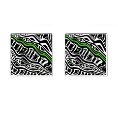 Green, black and white abstract art Cufflinks (Square)