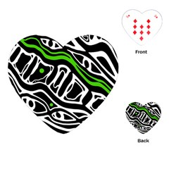 Green, black and white abstract art Playing Cards (Heart)