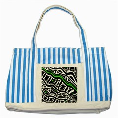 Green, black and white abstract art Striped Blue Tote Bag