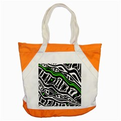 Green, black and white abstract art Accent Tote Bag