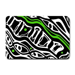 Green, black and white abstract art Small Doormat