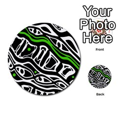 Green, black and white abstract art Multi-purpose Cards (Round)
