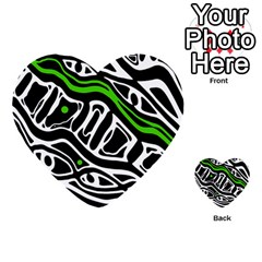 Green, black and white abstract art Multi-purpose Cards (Heart)