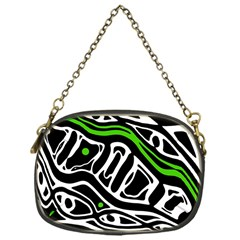 Green, black and white abstract art Chain Purses (One Side)