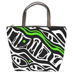 Green, black and white abstract art Bucket Bags