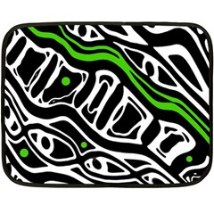 Green, black and white abstract art Double Sided Fleece Blanket (Mini)