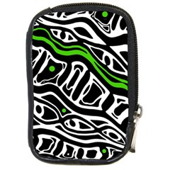Green, black and white abstract art Compact Camera Cases