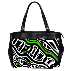 Green, black and white abstract art Office Handbags (2 Sides)
