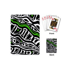 Green, black and white abstract art Playing Cards (Mini)