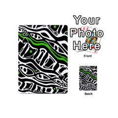Green, black and white abstract art Playing Cards 54 (Mini)