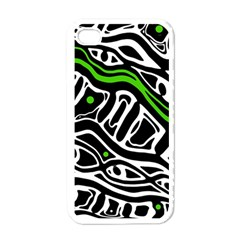 Green, black and white abstract art Apple iPhone 4 Case (White)