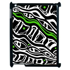 Green, black and white abstract art Apple iPad 2 Case (Black)