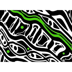 Green, black and white abstract art Birthday Cake 3D Greeting Card (7x5)