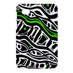Green, black and white abstract art Samsung Galaxy Tab 7  P1000 Hardshell Case