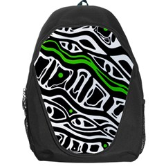Green, black and white abstract art Backpack Bag