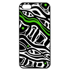 Green, black and white abstract art Apple iPhone 5 Seamless Case (Black)