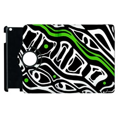 Green, black and white abstract art Apple iPad 2 Flip 360 Case