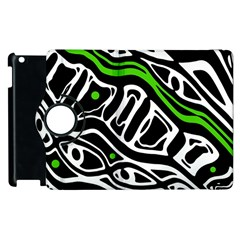 Green, black and white abstract art Apple iPad 3/4 Flip 360 Case