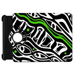 Green, black and white abstract art Kindle Fire HD Flip 360 Case