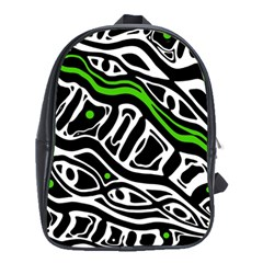 Green, black and white abstract art School Bags (XL)