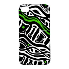 Green, black and white abstract art Apple iPhone 4/4S Hardshell Case with Stand