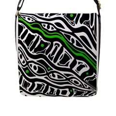 Green, black and white abstract art Flap Messenger Bag (L)